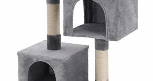 FEANDREA Kratzbaum mit Großer Plattform und 2 Plüschhöhlen Spielhaus, Kletterbaum für Katzen HellGrau PCT61W