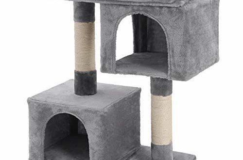 41DBD+A6VLL 500x330 - FEANDREA Kratzbaum mit Großer Plattform und 2 Plüschhöhlen Spielhaus, Kletterbaum für Katzen HellGrau PCT61W