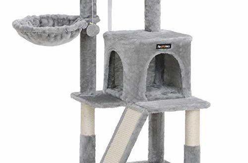 41Vlv+VCNwL 500x330 - FEANDREA Kratzbaum, Katzenbaum, Kletterturm für Katzen, Kuschelhöhle, Kratzbrett, hellgrau PCT51W