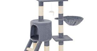 TecTake Kratzbaum für Katzen | Mittelhoch mit Sisalstangen | - Diverse Farben - (Grau | Nr. 401433)