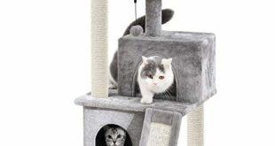 Eono by Amazon - Katzenbaum Kratzbaum Kratzbäume Katzenmöbel mit Sisal-Seil Plüsch Liege höhlen Spielhaus Spielzeug für Katzen Grau