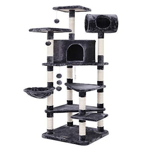 FEANDREA XXL Kratzbaum Kletterbaum mit Mehreren Ebenen für Katzen, Höhe 165 cm rauchGrau PCT17G