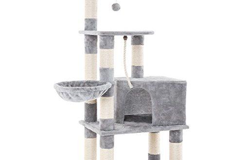 FEANDREA Katzenbaum mit Kratzbaum, Kletterbaum für Katzen, 148 cm hoch, mit Höhle und Liegeflächen, in HellGrau PCT60W