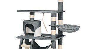 TecTake Katzen Kratzbaum mit Haengematte Liegemulde Hoehle Treppe ca 310x165 - TecTake Katzen Kratzbaum mit Hängematte Liegemulde Höhle Treppe | ca. 86x49x141cm | Diverse Farben (Grau-Weiß | Nr. 402276)