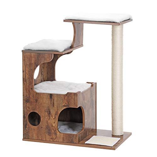 FEANDREA Kratzbaum 88 cm, mittelgroßer Katzenkratzbaum mit 3 Liegeflächen und Höhle, katzenmöbel aus MDF mit Holzfurnier, Sisalstamm, waschbare Auflagen aus Fellimitat, Vintage, braun, weiß PCT70HW